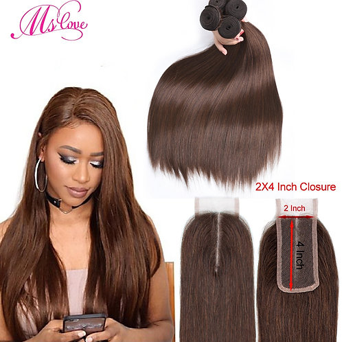 Straight Brazilian With 2x4 Closure #2 #4 Brown With Closure