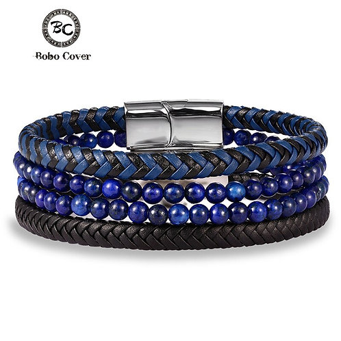 Couple Natural Stone Genuine Leather Bracelet Stainless Steel Clasp