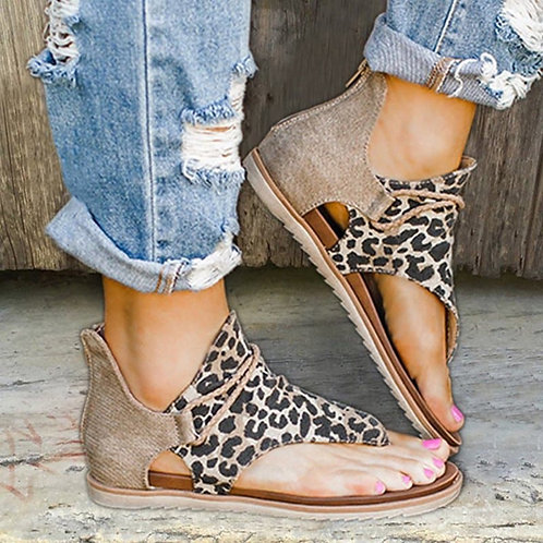 Leopard Print Summer Shoes Women Large Size