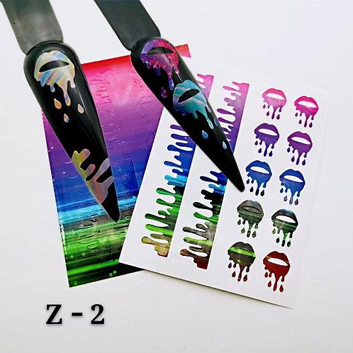 1/6/8/13/16pc Holographic Nail Foil Colorful Flame Graffiti Design