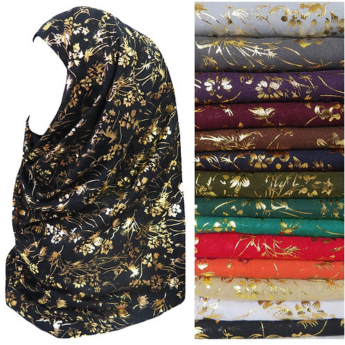 Metallic Gold Floral Pattern Muslim Lady Scarf Shawl Head Wrap