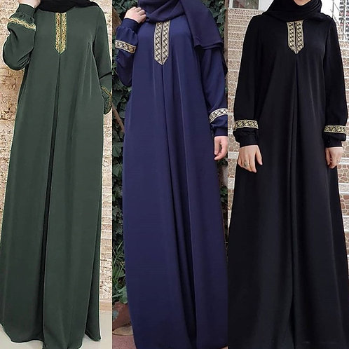 Plus Size Print Abaya Jilbab Casual Kaftan Lace Abaya