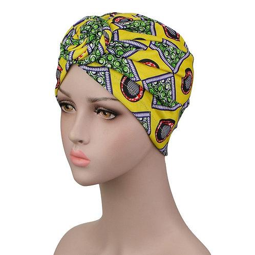 African Print Turban Stretch Beanie