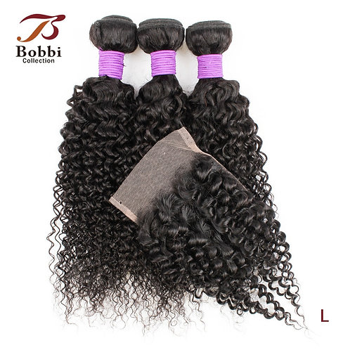 Collection 3 Bundles With Closure 200g/Set Jerry Curly Hair Indian
