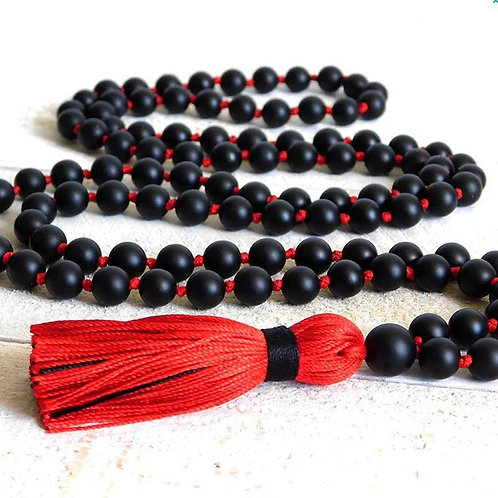 108 Beads Mala Necklace 8mm Matte Black Onyx With Red Tassel