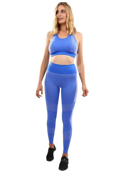 Arleta Seamless Leggings & Sports Bra Set - Blue