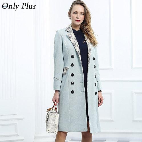 Winter Woolen Long Coat Blends Long Fashion Slim Lapel Splicing Coat