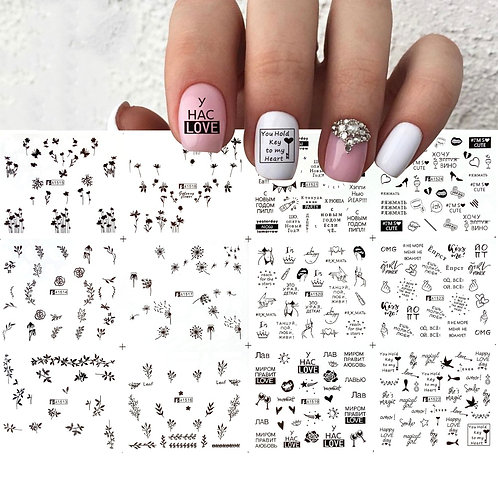12pc Set Black/White Russian Letter Nail Art Water Decals