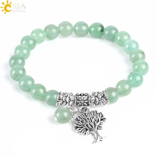 CSJA New Meditation Green Aventurine Yoga Mala Prayer Beads Healing Reiki