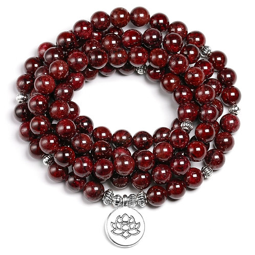 Natural a Red Garnet 108 Beads Mala Bracelet 8MM Stone OM Charm
