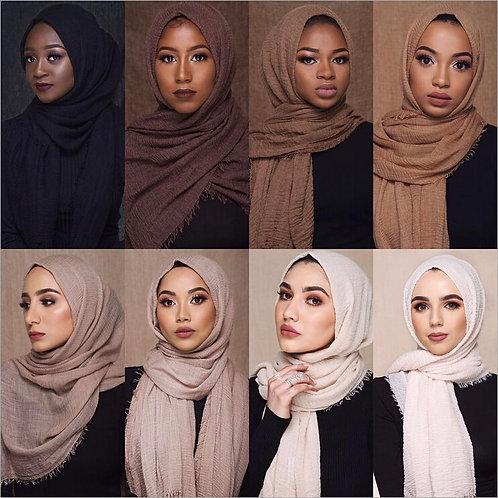 Plain Bubble Crinkle Hijab Scarf Soft Cotton Headscarf Shawls and Wraps