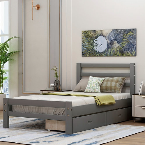 Platform Bed With Two Drawers Storage