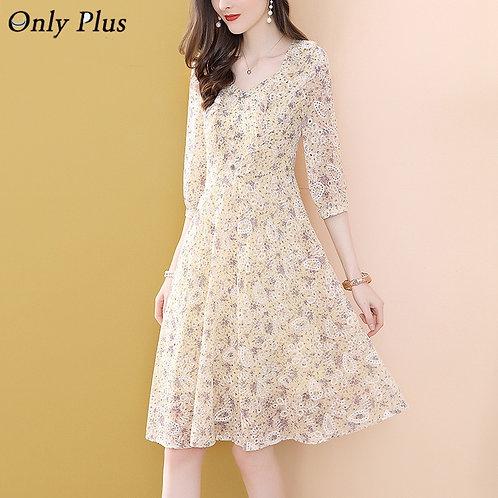 Apricot Floral Leaf Embroidery Dress A-Line Chiffon Half Sleeve V-Neck