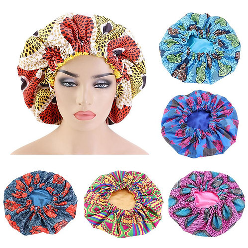 Women African Floral Print Satin Night Sleep Bonnet Hat