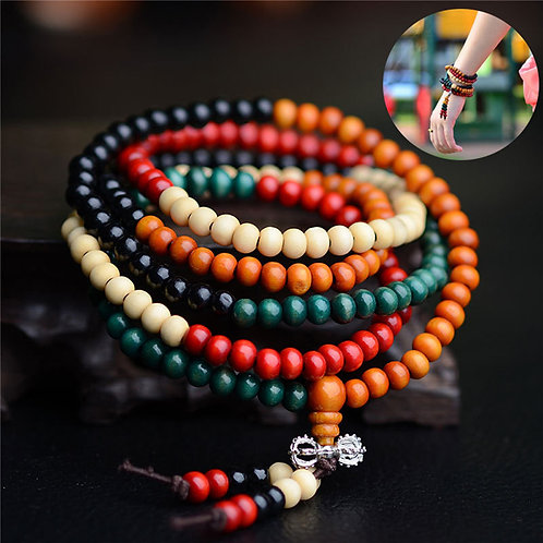 108 Beads 8mm Natural Sandalwood Buddhist Buddha Wood Prayer Bead Bijoux