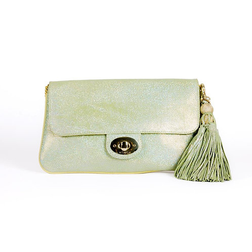 Shimmer Daisy Flat Clutch in Green