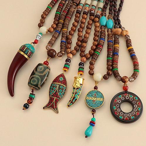 Unisex Handmade Nepal Buddhist Mala  Boho Hippie Style
