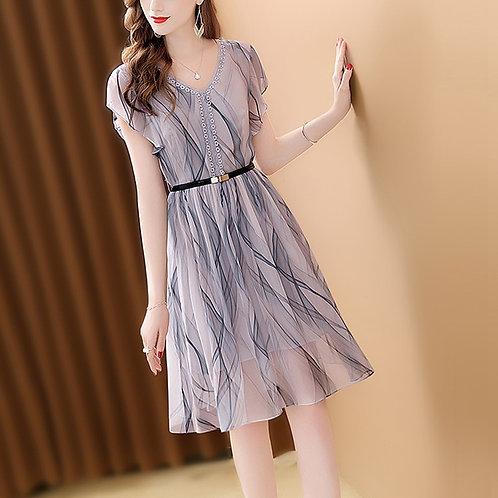 Short Dress Chiffon Gradient Color Fashion Slim High Waist