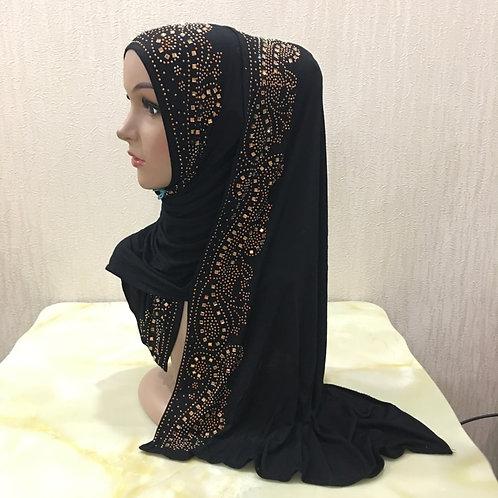 Cotton Jersey Modal Abaya Hijab With Rhinestones