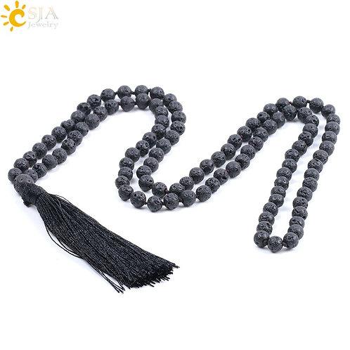 CSJA Natural Black 108 Mala Lava Bead Silk TasselReiki Jewellery