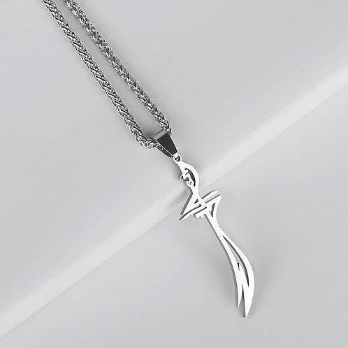 HZ Zulfiqar Sword of Imam Ali Stainless Steel Pendant  Necklace Islam Jewelry