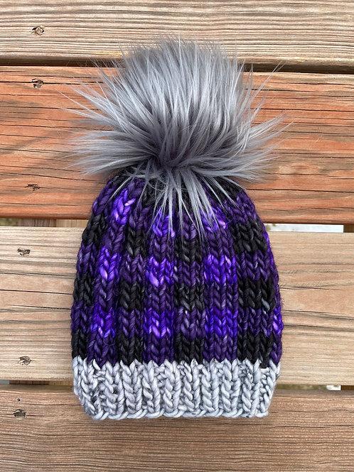 Purple Buffalo Plaid Hat Kit