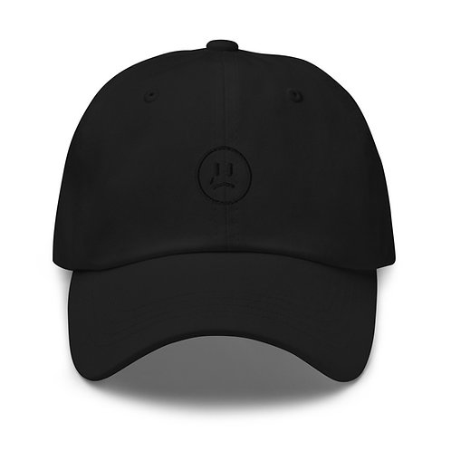 SADFACE BASEBALL CAP - ALL BLACK