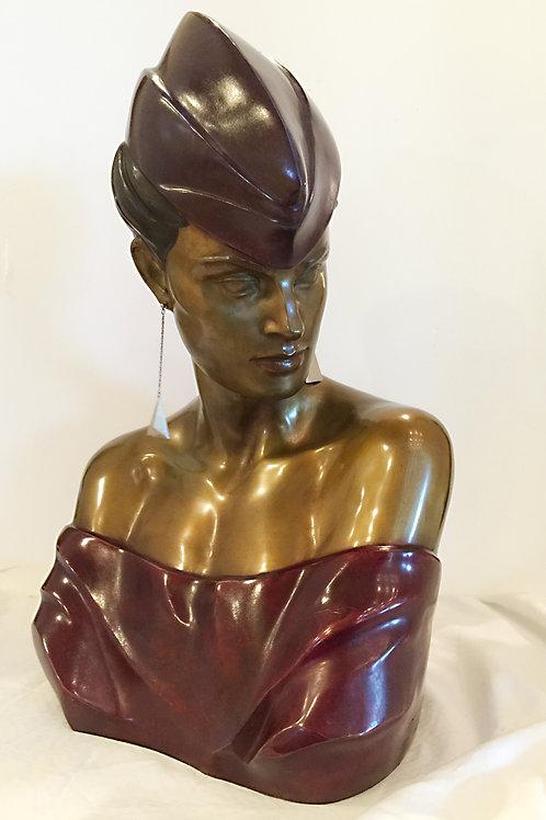 "Patrick Nagel Bronze "" Bust"" a.k.a. Carol"