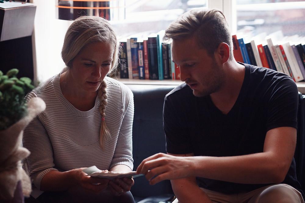 Runa Egilsdottir and Romain Butti looking at Pantone colour