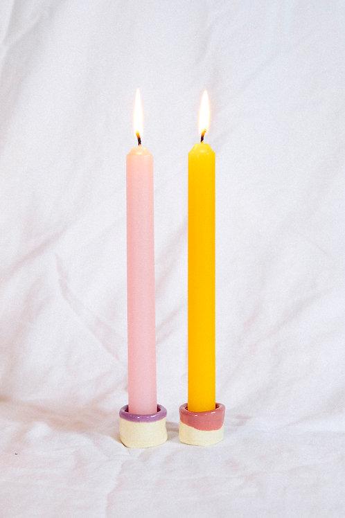 Handmade Ceramic Candlestick Set - Mini Pair