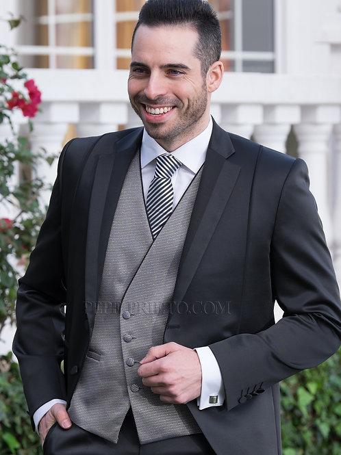 Traje de novio ultra Slim negro de lana seda con detalles en la solapa