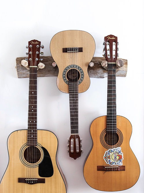 Raw Wood Guitar Rack