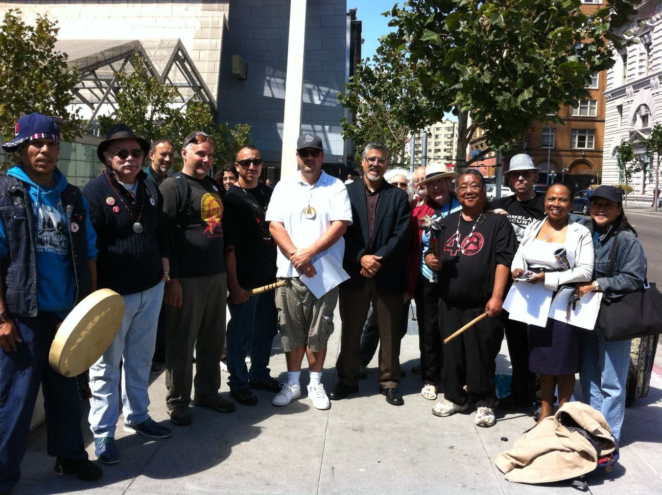 AIMWEST support group for Leonard Peltier at Federal building also supervisor Jo