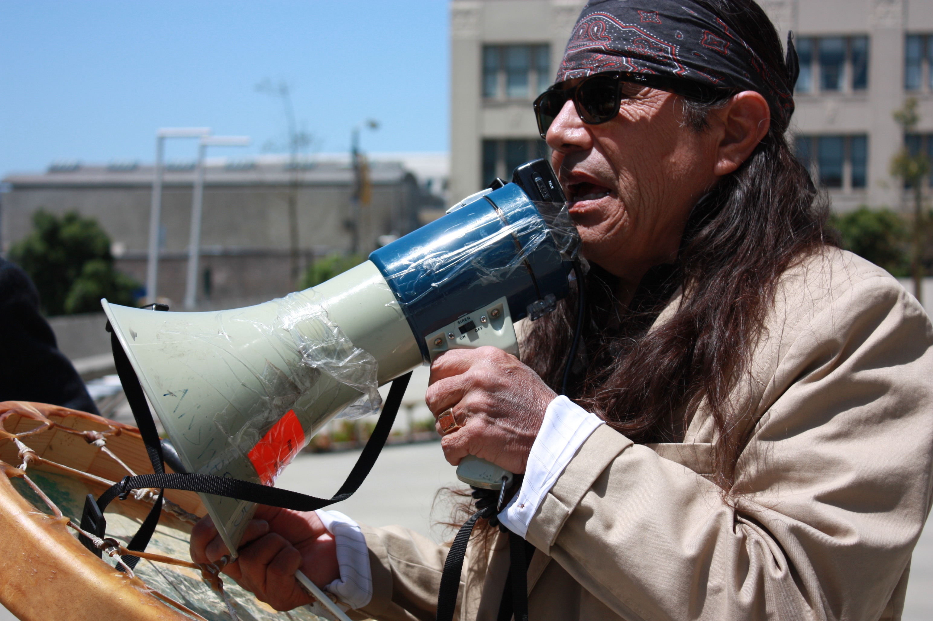 Tony G with bull horn at demo for Leonard Peltier 2009