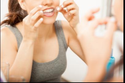 Teeth whitening strips application