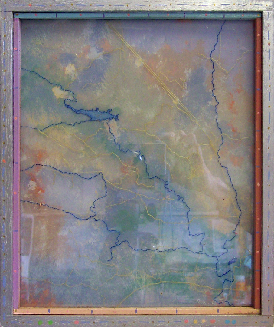 Untitled (Aerial roads and streams map of Phantom Canyon Ranch)