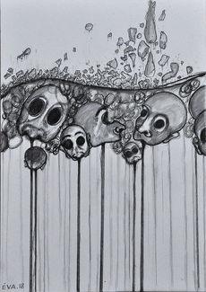 Encre et crayon sur papier