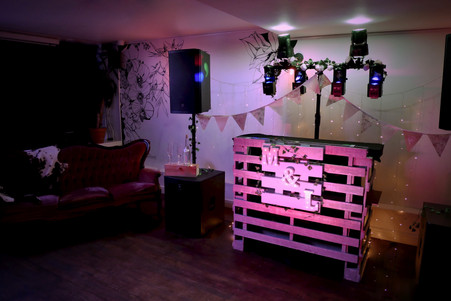 Rustic bespoke wedding dj booth made from pallets with personalised handmade illuminated initails letters sign in Bristol and Somerset