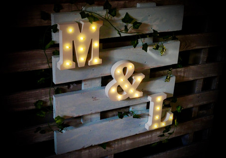 Rustic wedding DJ booth personalised sign with illuminated initial letters in Bristol and Somerset