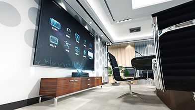 Modern office space with huge interactive screen on the wall