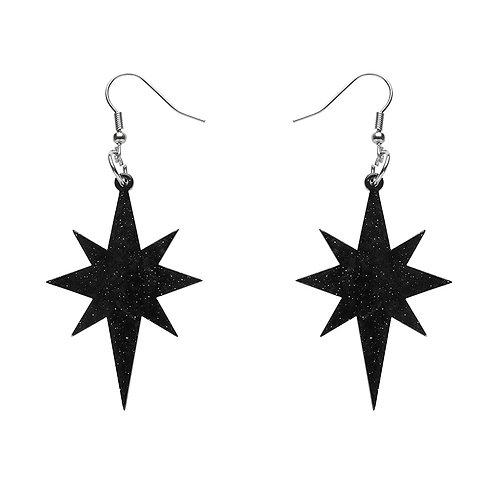 Starburst Ripple Glitter Resin Drop Earrings - Black