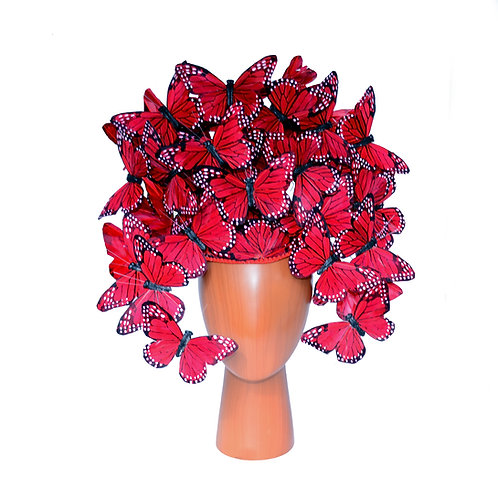 Red Monarch Butterfly Headpiece - For Races, Derby