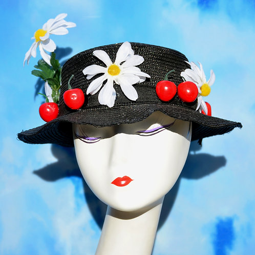 Mary Poppins Cherry & Daisy Black Boater Hat