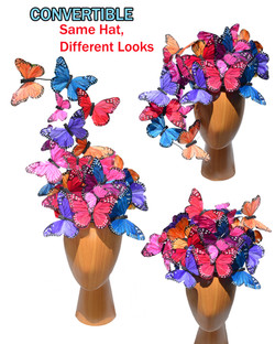 The Madame Butterfly PLUS+ Mixed Color Rainbow Feather Butterfly Swarm Fascinator Hat Hatinator  (5)