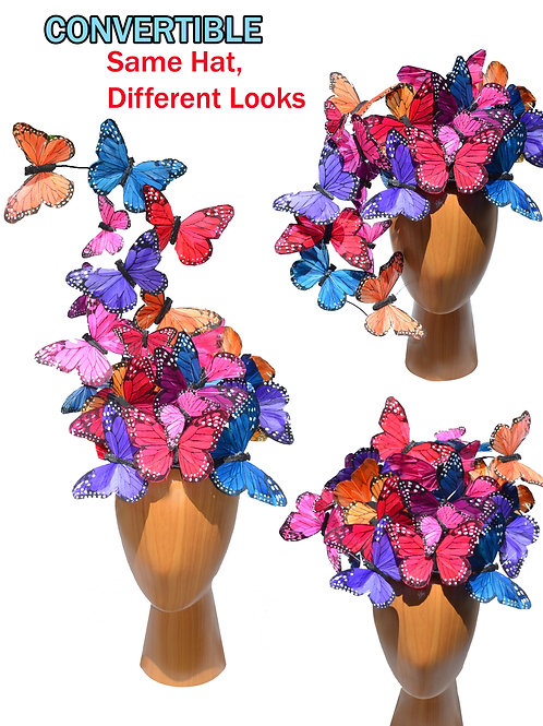 """Multi-Color Rainbow """"Madame Butterfly"""" Fascinator Hat"""