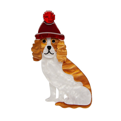 Wintertime Walkies Brooch by Erstwilder | Dog w/ Beanie Hat