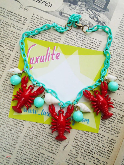 Lucky Lobsters! - Lobster and Shells Beachcomber Necklace
