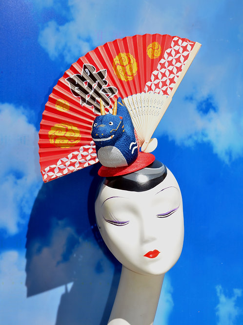 Blue Dragon and Red Japanese Fan Costume Headpiece