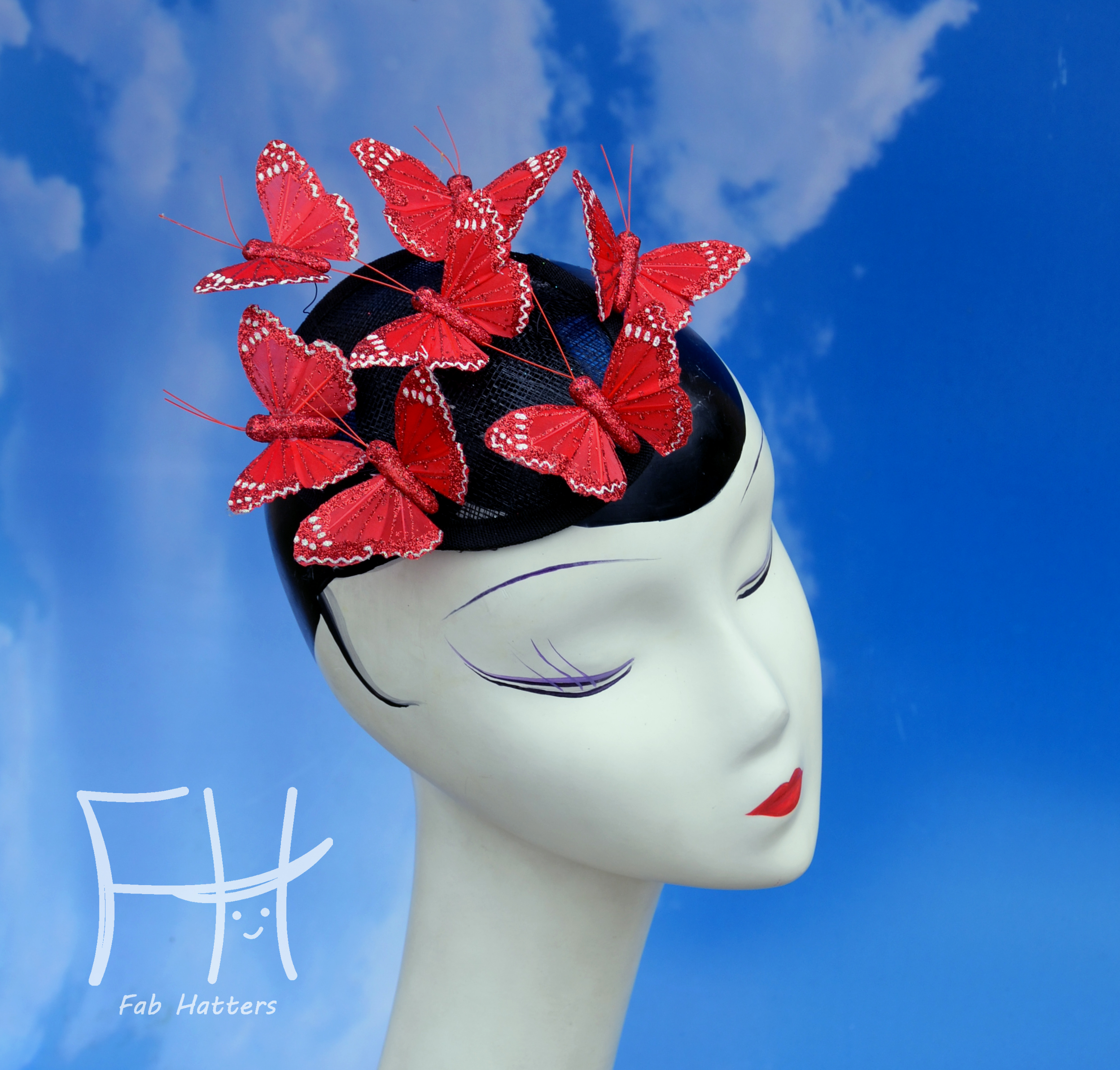 Red Glitter Butterfly Fascinator Hat
