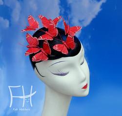 Red Glitter Butterfly Fascinator Hat